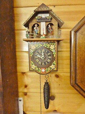 "fantastic cuckoo clock ""style"" chalet weather house wall clock oiled works swiss"