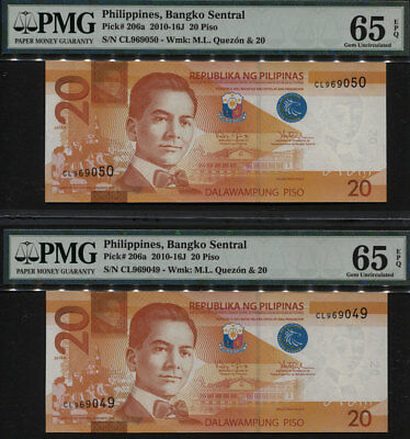 TT PK 206a 2010-16J PHILIPPINES 20 PISO PMG 65 EPQ GEM UNC SEQUENTIALLY SET OF 2