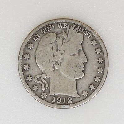 1912-D GOOD/VG Condition Barber Silver Half Dollar Nice Color - I-14155 G