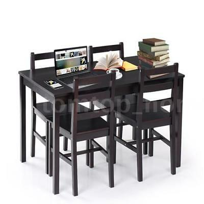 5pc Dark Brown Dining Table Set 4 Chair Wood Kitchen Room Dinette Furniture Q4Y9