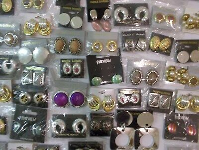 JOBLOT 50 PAIRS ASSORTED CLIP ON EARRINGS.  New with tags.