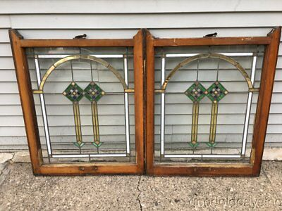 """2 of 4 Chicago Bungalow Style Stained Leaded Glass Windows 34"""" by 27"""""""