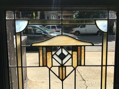 "Antique 1920's Chicago Bungalow Style Stained Leaded Glass Window 34"" by 23"""
