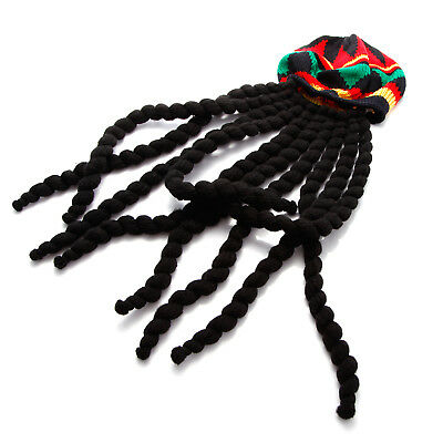 691b725c4e9 Adults Rasta Dreadlock Wig Jamaican Beanie Hat Fancy Dress Caribbean Beret  Cap