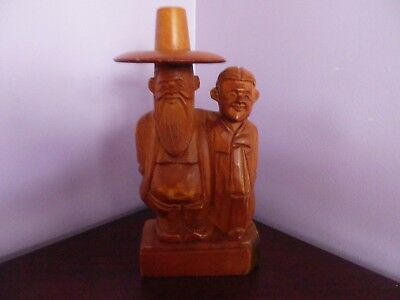 Unusual Vintage Asian/oriental Wood Carving Of Men One With Large Hat 29Cms Tall