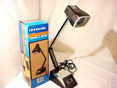 Vtg Hi Low Intensity Lamp table Desk Retro Black Adjustable Original Box MCM