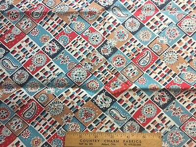 Vintage Cotton Feedsack Fabric 30s40s PRETTY Red White Blue Floral Squares  EXC