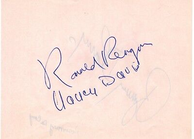 1950s, President Ronald Reagan, Nancy Davis (Reagan) signed album page