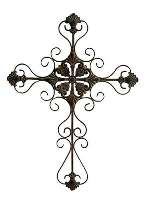Cheungs FP-2499-S 28.75 inch Tall Metal Cross with Scroll Design