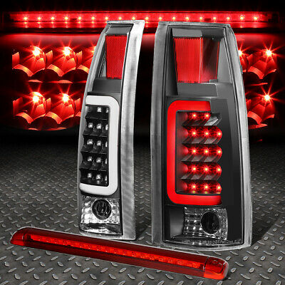 Black Housing Clear 3D Led Bar Tail+Red 3Rd Brake Light For 92-00 Suburban/Tahoe