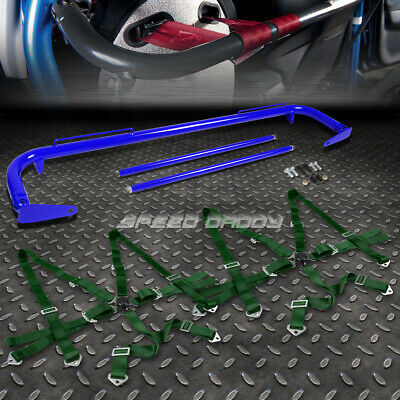 """Blue 49""""stainless Steel Chassis Harness Bar+Gold 6-Pt Strap Camlock Seat Belt"""