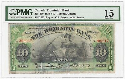 1925 Toronto, ON Canada Dominion Bank $10 Obsolete Note - PMG Choice FINE 15