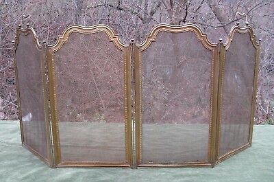 """Vintage Antique Victorian Brass 4 Fold Fire place Screen 25""""H"""
