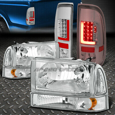 3D Red Led Chrome Clear Tail Light+Chrome Amber Headlight For 99-04 Super Duty