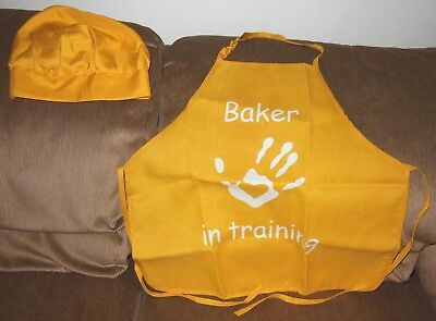 "Set of Gold Apron ""Baker in Training"" Plus Matching Chef Hat"