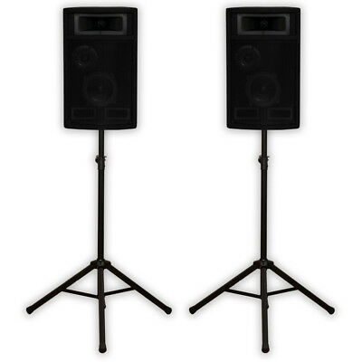 Acoustic Audio PA-500X Passive 800W 3-Way Speaker Pair and Stands DJ Studio Home