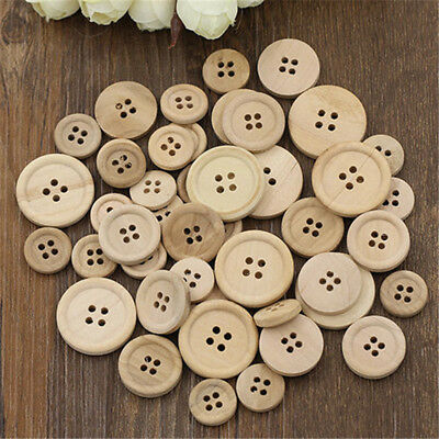 50Pcs Mixed Round Wooden Buttons Natural Color 4-Holes Sewing Scrapbooking DIY