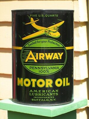 AIRWAY MOTOR OIL Can - Graphic Flying Airplane, Buffalo NY