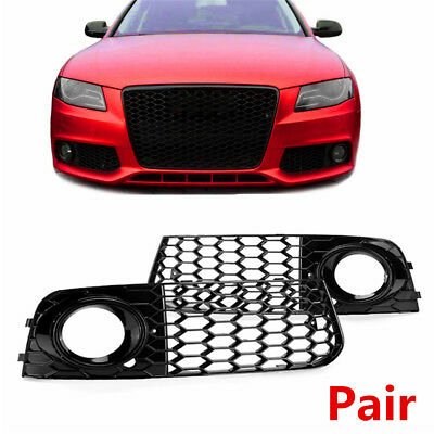 2Pcs ABS Plastic Honeycomb Mesh Fog Light Grill RS4 Style For Audi A4 B8 2009-12