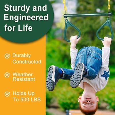 """Outdoor Heavy Duty Gym Ring 18"""" Trapeze Bar Combo Swing Accessory for Play Set"""