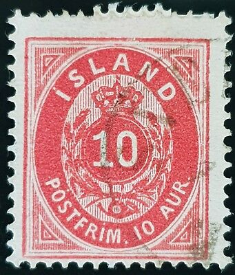 Iceland 1876 Sc # 11 Carmine 10a Used Stamp Lot #2