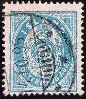 Iceland 1882 to 1898 Sc # 17 Blue 20a Used Stamp Lot #2
