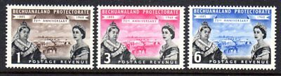 1960 BECHUANALAND 75th ANNIVERSARY PROTECTORATE SG154-156 mint vlh / muh