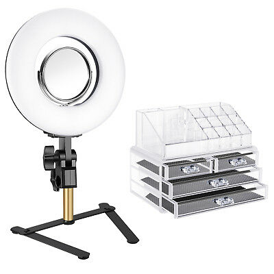 Neewer 8-inch Tabletop Dimmable Mini SMD LED Ring Light with Mirror