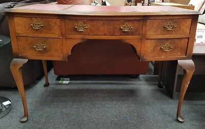 QUEEN ANNE Style Solid Wood / Burr Yew Veneer Leatherette Top Writing Desk - A25