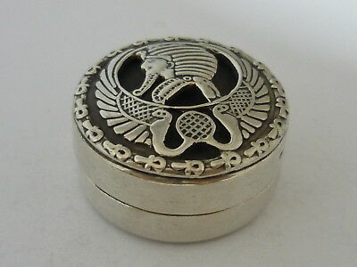 Stunning Rare Small Vintage Hallmarked Solid Silver Egyptian Pharaoh Design Box