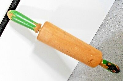 VINTAGE ANTIQUE SOLID WOOD ROLLING PIN PAINTED HANDLE BEECH? 40cm x 6cm