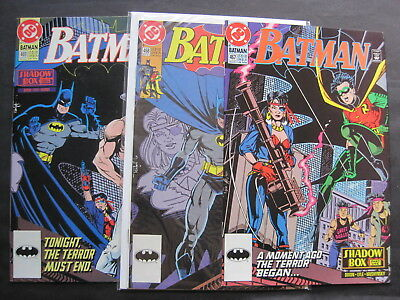"""BATMAN issues 467,468,469, """"SHADOW BOX"""" : COMPLETE 3 ISSUE STORY. DC,1991"""