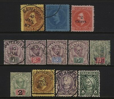 Sarawak Collection 12 Early Stamps Used / Unused Mounted