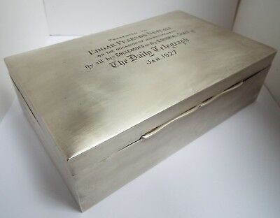 FINE V LARGE HEAVY 1277g ENGLISH ANTIQUE 1925 SOLID SILVER CIGARETTE BOX HUMIDOR