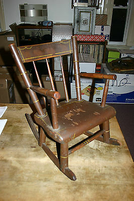 Child's Plank Bottom America Traditional Wood Rocking Chair With Arms 1800-1899