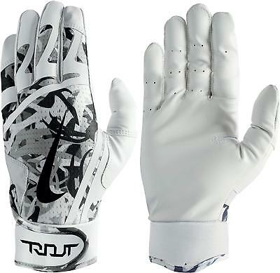 Nike Trout Edge Batting Gloves White/Black/Cool Grey Adult Unisex Small