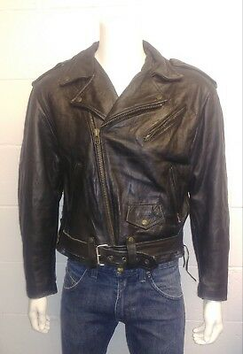 Redskins Riders Vintage 100% Leather Black Biker Jacket. Large Men's