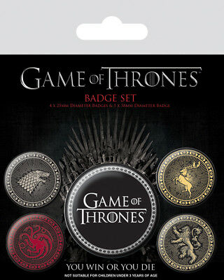 Button Badge 5er Pack GAME OF THRONES - 4 Great Houses 1x38mm & 4x25mm BP80527