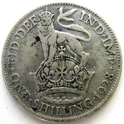 Great Britain Uk Coins, One Shilling 1928, George V, Silver 0.500
