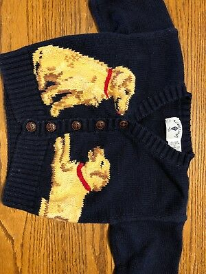 Kitestrings Toddler Boys Size 2T Navy, Cardigan Sweater With Dogs