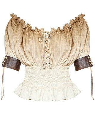Punk Rave Womens Gypsy Top White Brown Gothic Steampunk VTG Boho Victorian