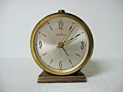 Vintage SETH THOMAS BRASS color ROUND TABLE ALARM CLOCK Windup AS IS