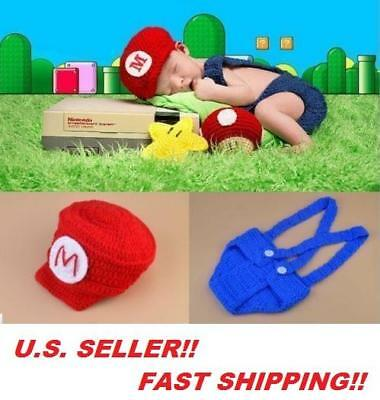 NINTENDO Baby Halloween 2 Piece Mario Yoshi Outfit Costume 0-6 months Hand Made.