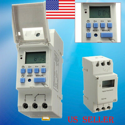 DC 12V 16A Digital LCD Programmable Timer Relay Switch for Power Equipment USA