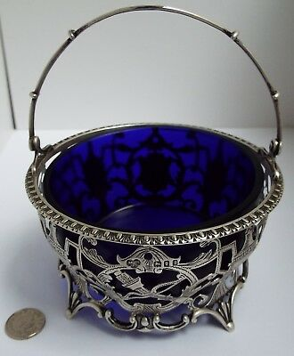 Stunning English Antique 1922 Solid Sterling Silver Pierced Swing Basket & Liner