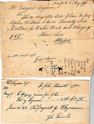 18th Century, Hartford, documents and receipts accounts with Col. Thomas Seymour