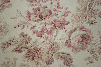 Antique Art Nouveau fabric French pink floral design heavy cotton upholstery old