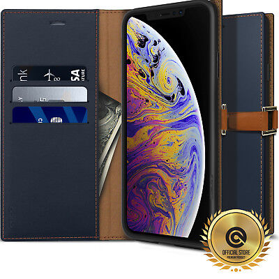OBLIQ® iPhone XS Max [Z2 Wallet] Hand Made Leather Case Folio 3 Cards Kickstand