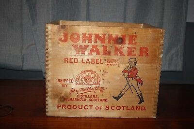 Vintage Wood Johnnie Walker Red Label Scotch Crate --Dove Tail Joints--