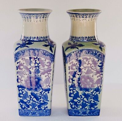 "Pair Of Asian Chinese Blue & White 4 Sided Vases Floral Blossom 14"" Tall"